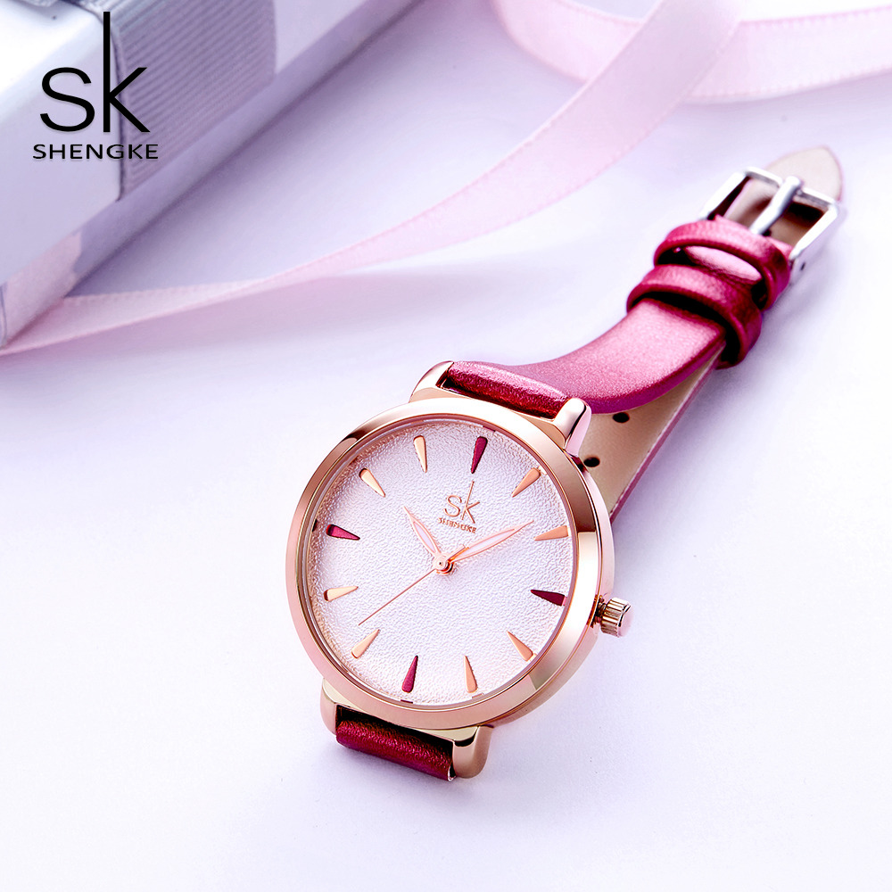 Shengke New Rose Red Leather Strap Women Watches Simple Dial Quartz Ladies Watch Gift For Lovely Girl Relogio Feminino kevin black red white leather strap women watches modern quartz ladies watch fashion simple arabic numerals dial clock 2018 new