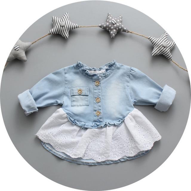 Nueva marca de bebé de la primavera y el otoño de lavado con agua denim remiendo del algodón de color de ropa de abrigo infantil otoño de encaje acanalada chaquetas tamaño 9 M-24 M