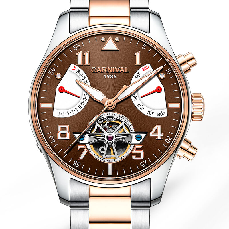 Carnival Mens Holllow out Dial Steel Watchband Automatic Self Wind Mechanical Wristwatch Watch With Date And