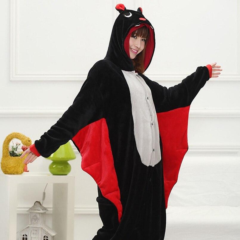 Adults Animal   Pajamas     Sets   Cartoon Sleepwear Cosplay Zipper Women Men Winter Unisex Flannel Bat   Pajamas