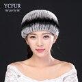 YCFUR 2016 Mulheres Da Moda Headband Headbands Meninas de Malha de Inverno Genuine Rex Rabbit Fur Cachecóis Inverno Pele Natural para inverno