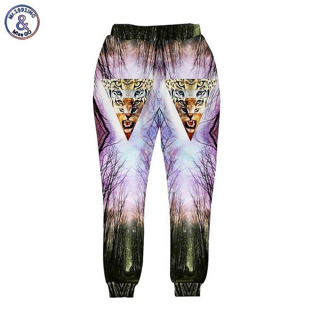 Mr.1991INC Harajuku estilo homens/mulheres calça engraçado impressão 3d tigre triângulo e floresta corredores harem pants longos