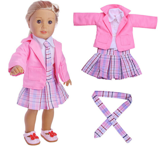 School uniform clothes Dress Suit Set for 18 doll coat wear set, also fit for zapf baby born dolls children present rose christmas gift 18 inch american girl doll swim clothes dress also fit for 43cm baby born zapf dolls