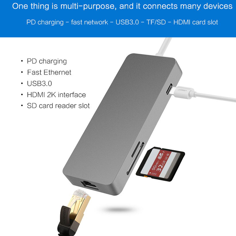 7 in 1 USB-C USB 3.1 Type C to HDMI RJ45 Gigabit Ethernet SD/TF Card Reader PD Charging Adapter for for MacBook Samsung Galaxy new portable mini design charming 3 in 1 card reader usb type c micro usb 3 0 tf sd card reader support type c otg card reader
