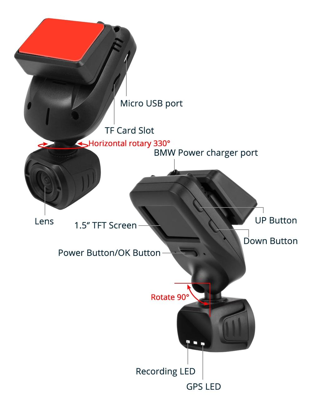 Conkim Nieuwe Collectie Mini Q9 Dash Camera Auto DVR Condensator 1296P 1080P Full HD Verborgen Auto Camera GPS LDWS Parking Modus + 32GB TF - 4