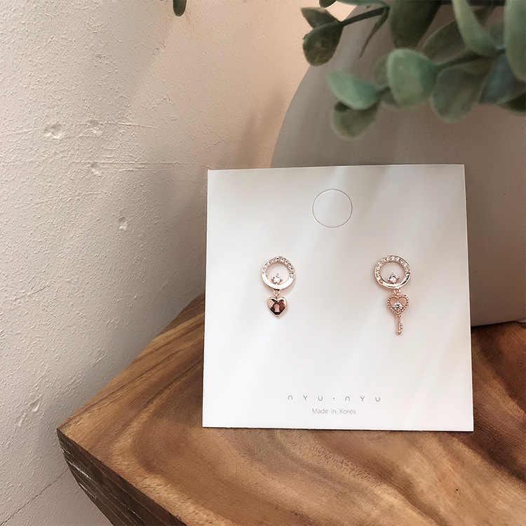 MENGJIQIAO 2019 nouveau coréen élégant brillant Zircon coeur clé boucles d'oreilles pour femmes filles mignon mode Pendientes bijoux cadeaux