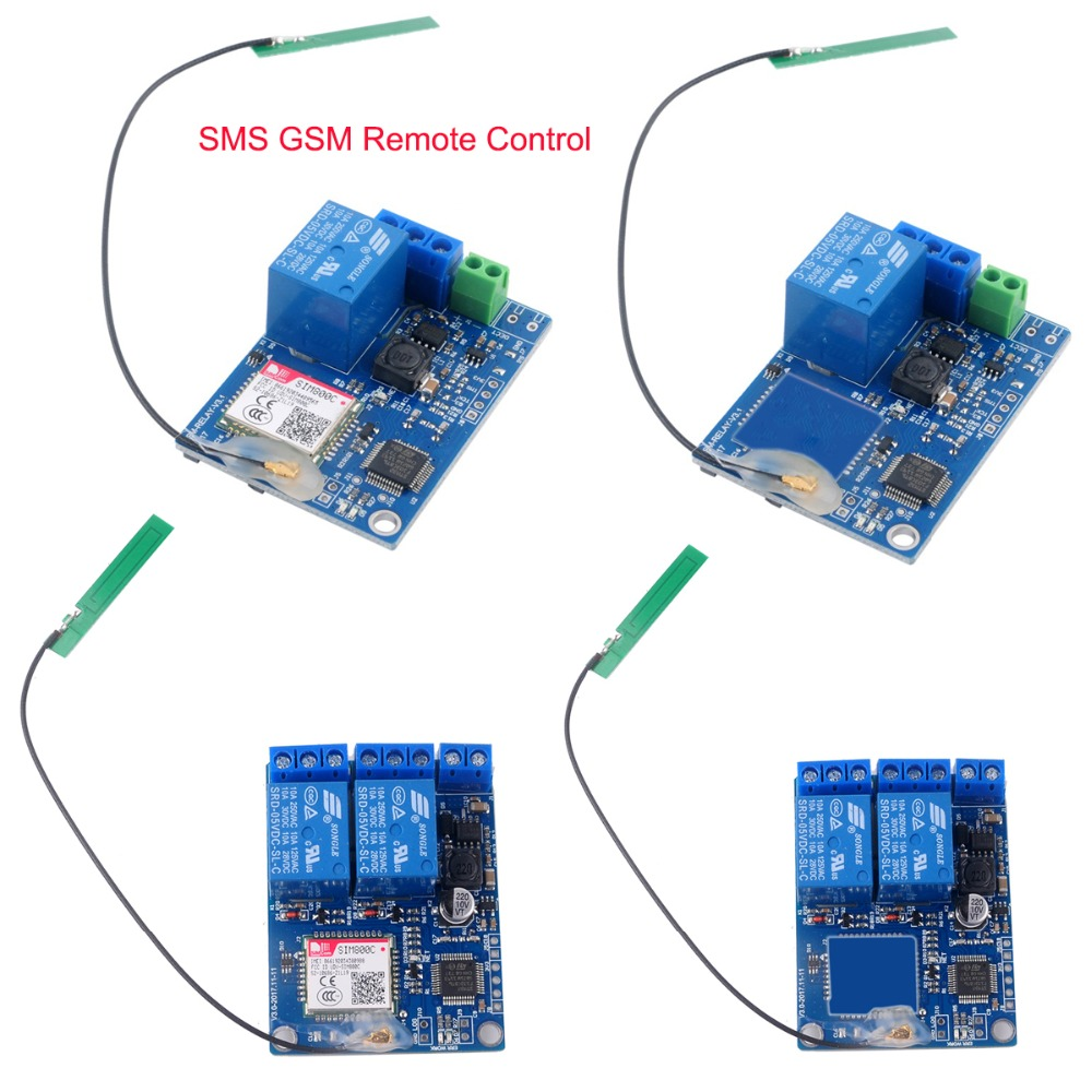 1 Channel / 2 Channel Relay Module SMS GSM Remote Control Switch With/ Without SIM800C STM32F103CBT6 For Gate Opener