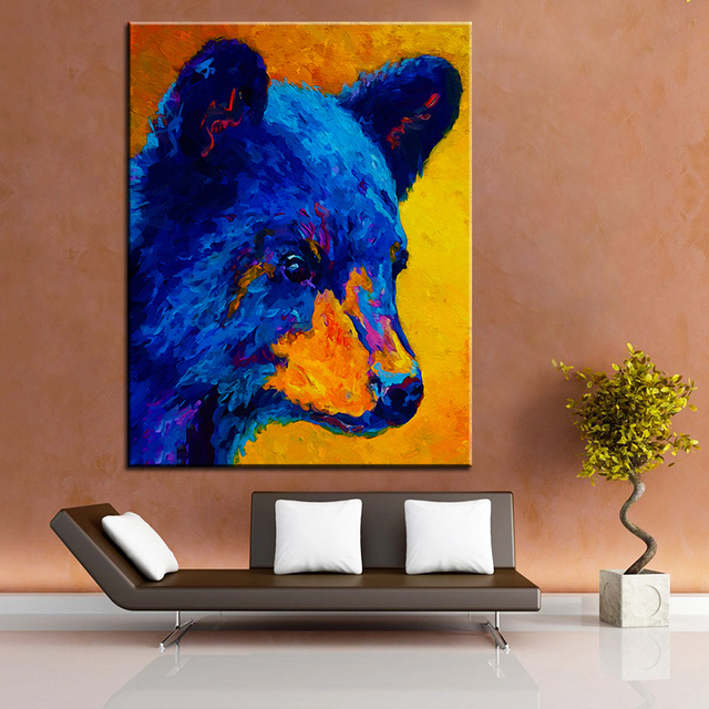 Large size Printing Oil Painting black bear cub Wall painting ...