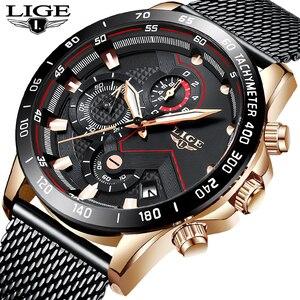Image 5 - Lige relógios masculinos quartz, marca de luxo, casual, magro, malha de aço, à prova d água, esportivo, relógio 2019