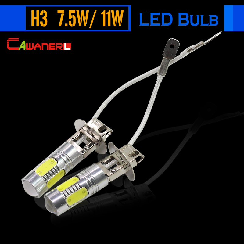 Cawanerl 11W 7.5W H3 Car Light LED Bulb Lamp 12V White Blue Green Purple Yellow Red Auto Fog Light DRL Daytime Running Light 12v led light auto headlamp h1 h3 h7 9005 9004 9007 h4 h15 car led headlight bulb 30w high single dual beam white light