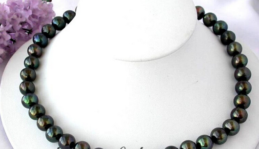 xiuli 003295 17 12mm Tahitian black fw pearl necklace 14KGPxiuli 003295 17 12mm Tahitian black fw pearl necklace 14KGP