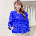 Free Shipping Genuine Rabbit Fur Coat women rabbit fur coat winter natural fur jacket free custom plus size any color F797