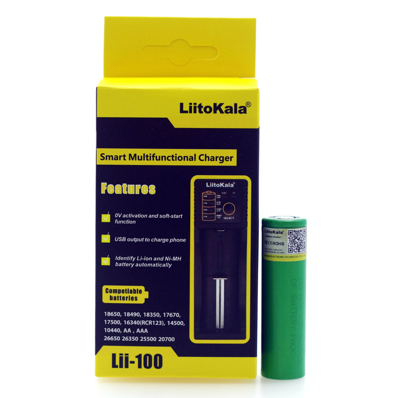 Liitokala lii-100 1.2 В 3.7 В 3.2 В 18650 18350 26650 14500 21700 vtc4 2100 мАч литиевая батарея зарядное устройство <font><b>NIMH</b></font> аккумулятор для Sony