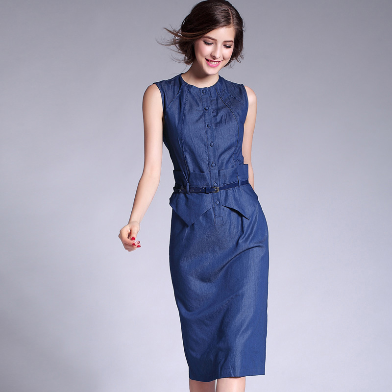 2f10efe9caec Summer Elegant OL Denim Women Tank Mid-Length Dress O neck Ruched Single  Breast Button Patchwork Waist belt Jeans Pencil Vestido