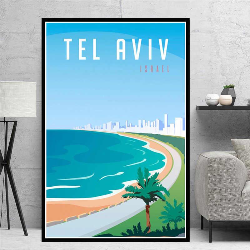 World Travel City Landscape Taksim Tel Aviv Toronto Modern Painting Poster Prints Wall Art Pictures For Living Room Home Decor