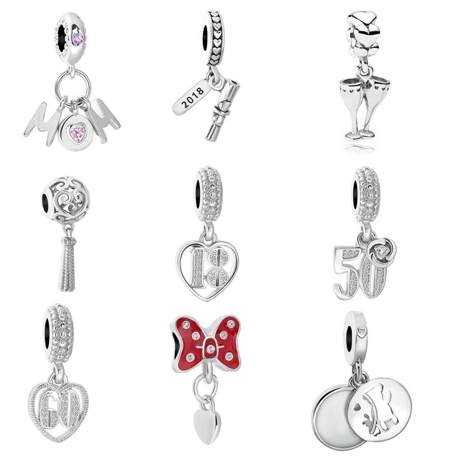 New Original Free Shipping European Bead 18 50 60 mom bow pendant Charm Fit Pandora Bracelet Necklace DIY Women Jewelry Trinket jewelry making