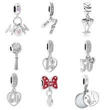 0d1851483213 Mamá 18 50 60 años de amor fit Original Pandora encantos de plata  originales de las mujeres pulsera de brazalete de la joyería h.