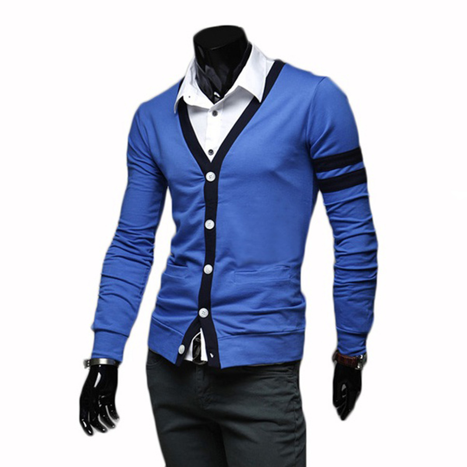 New men's Fashion Long sleeved self-cultivation all-match cardigan sweater
