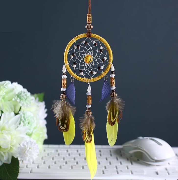 yellow Dream Catcher Decor Handmade Dreamcatcher India Style for Kids' Bed Room Hanging Ornaments Home Wall Car Decor