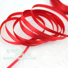 "wholesale (25 yards/roll ) 1/4""6mm Red Silk Satin Ribbon Wedding Party Decoration Gift Wrapping Christmas Sewing Fabric Hand DIY(China)"