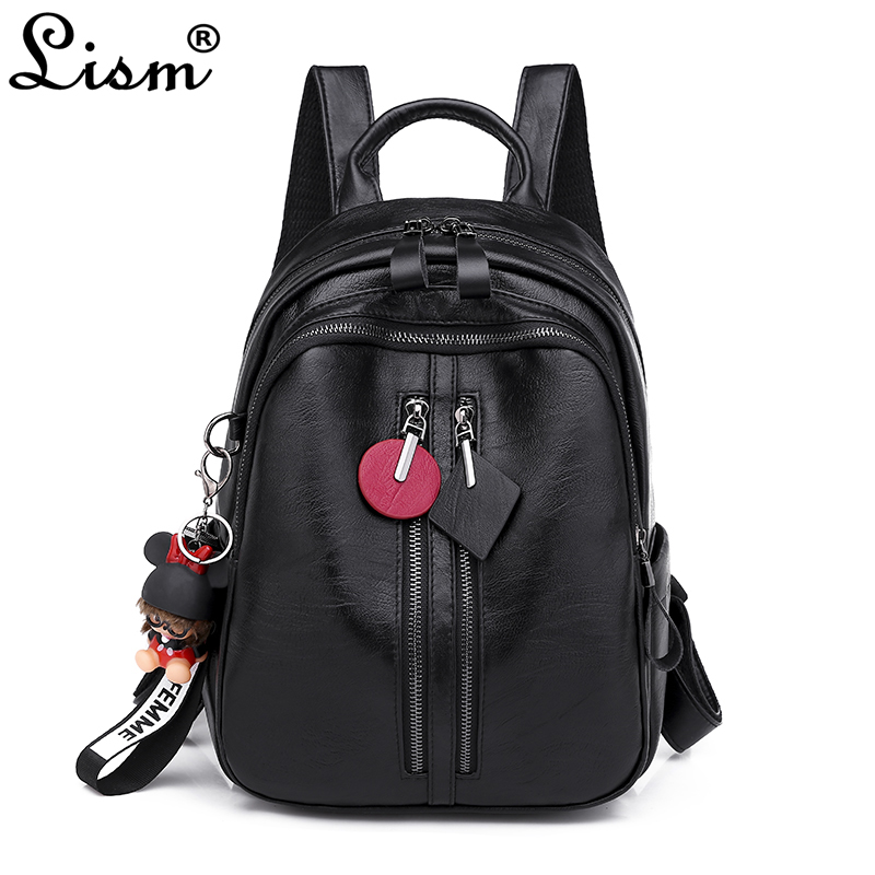 2019 new womens bag luxury high quality backpack fashion pendant leisure travel bag classic black street trend2019 new womens bag luxury high quality backpack fashion pendant leisure travel bag classic black street trend
