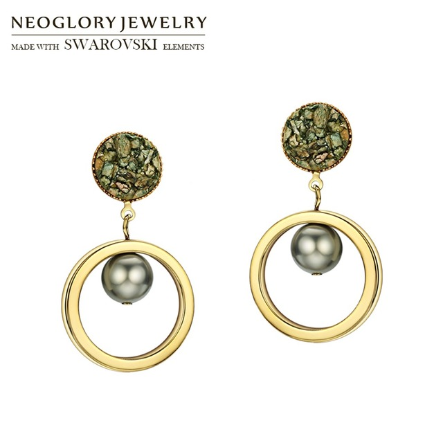 Neoglory Simulated Pearl Round Circle Dangle Earrings Korean Stylish For  Lady Daily Dress Party Brilliant Gift Fashion Sale c9d145e5718c