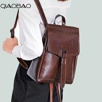 QIAOBAO High Quality Genuine Cowhide Leather Backpack Woman Fashion Female Backpack Large Capacity School Bag Mochila Feminina