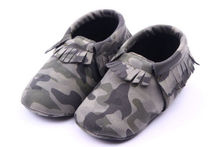 Cute Infant Toddler Baby Fringe Camouflage Tassel Soft Soled Moccasin Crib Shoes