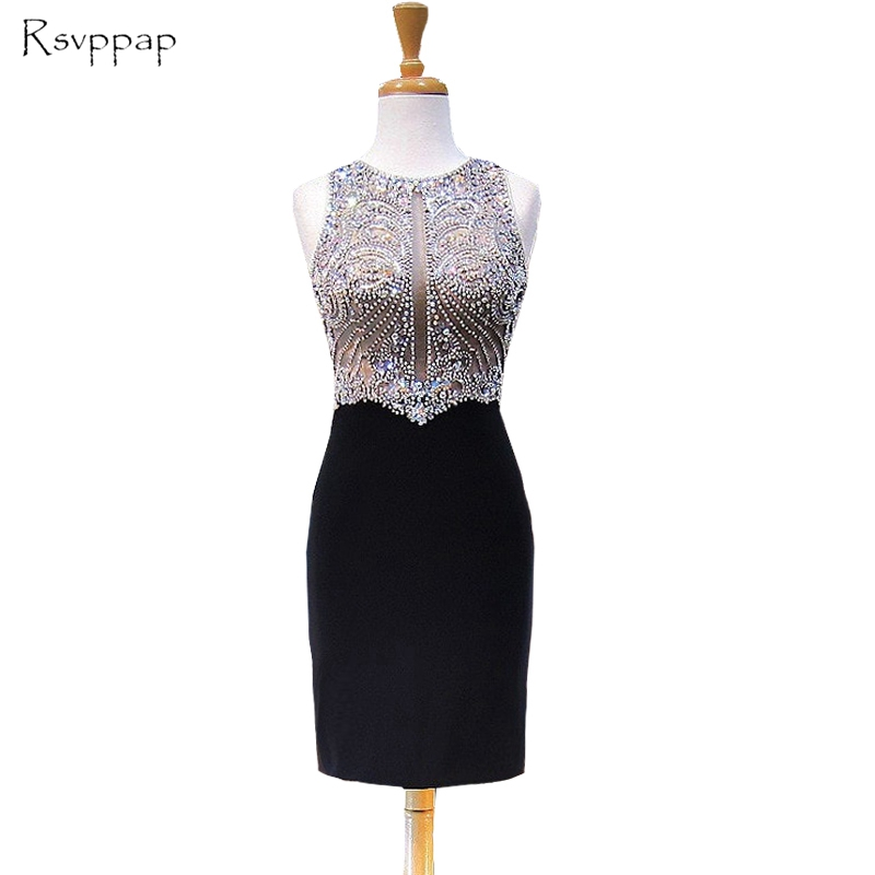 Sparkly Black   Prom     Dress   2018 Real Picture Bling Bling Beaded Crystals Straight African Short   Prom     Dresses