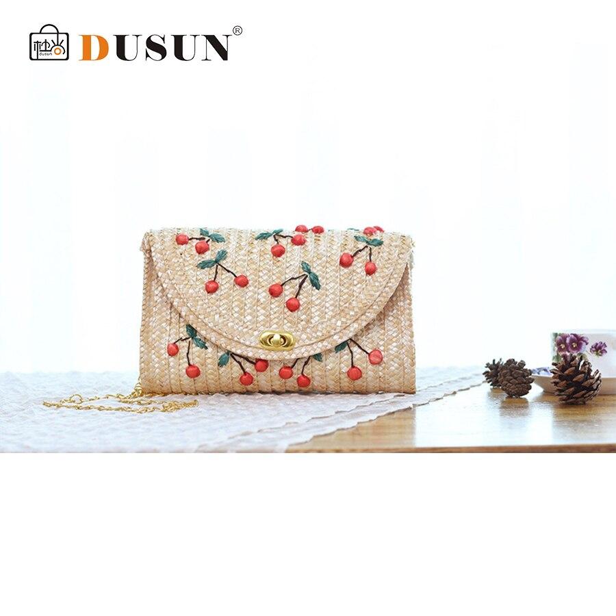 DUSUN Straw Bag beach Hand Fruit Woven Bags Handbags New Rattan Package Mori Girl Cute Solid Bag Three-Dimensional Women bag