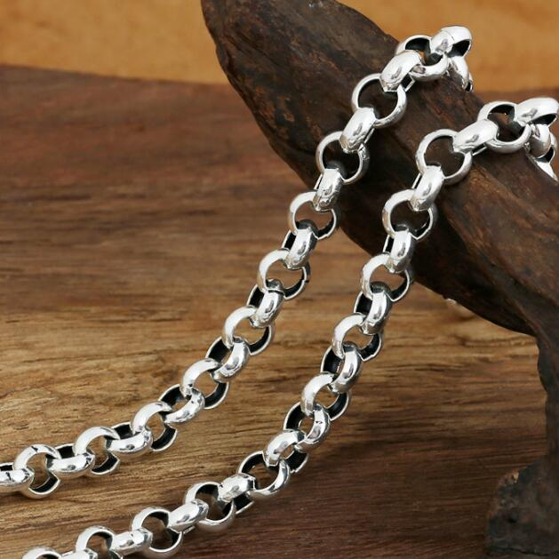 6-10mm 100% 925 Silver Man Necklace Vintage Sterling Necklace Pure Silver Chain Necklace Man Jewelry Gift