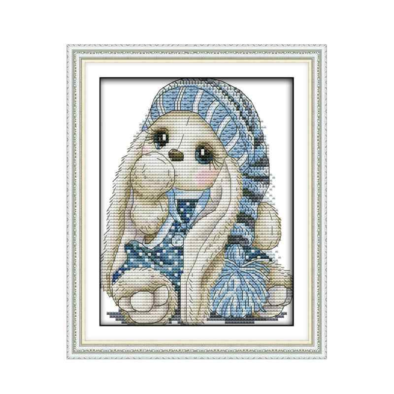 The Mini Rabbit Cross Stitch Pattern Embroidery Needlework Set JoySunday 11 14CT Printed and Unprinted Cross Stitch Kit for Kids