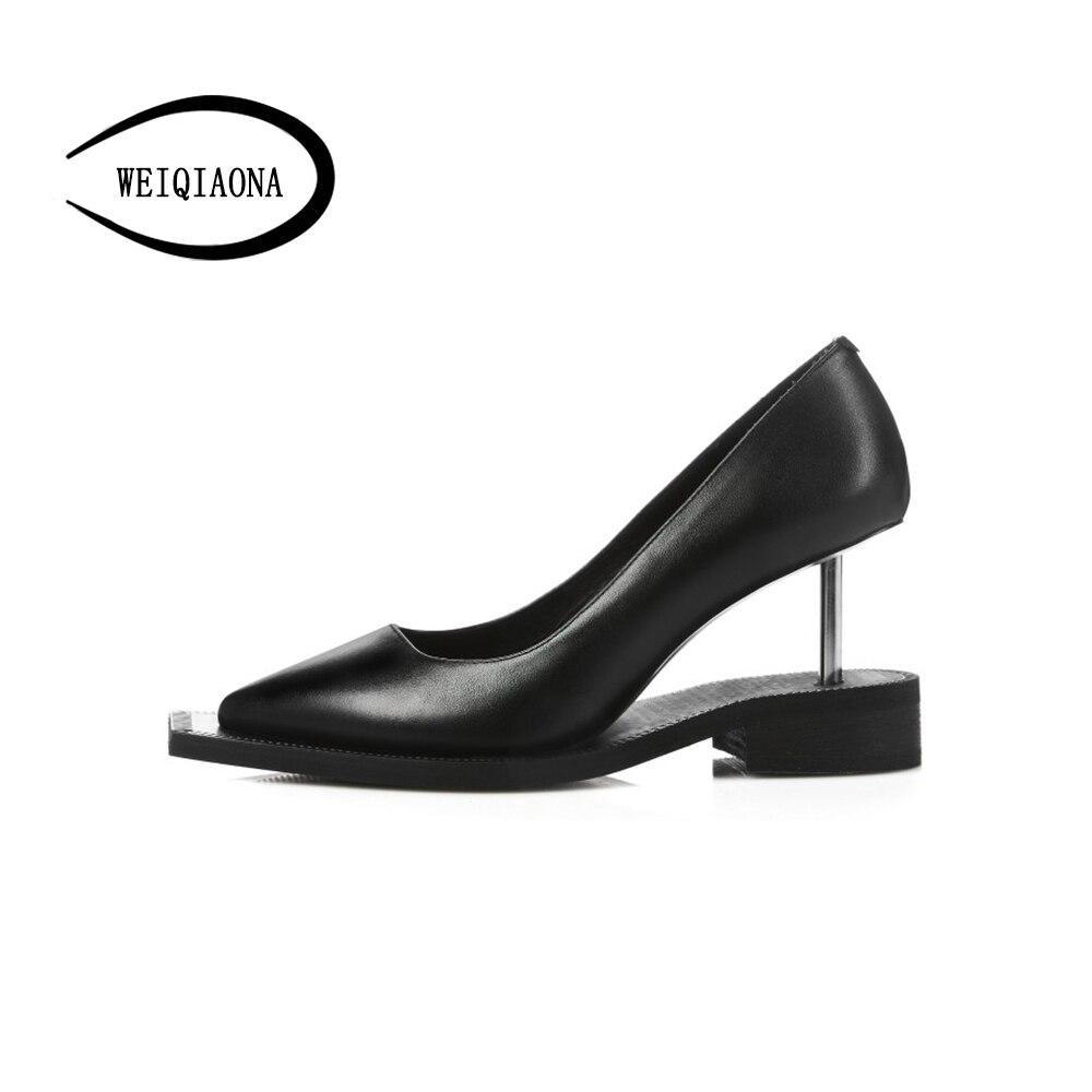 Taille Rétro Peu Pointu Personnalité Des Weiqiaona Robe Haute Véritable Pompes Choisit Talons Profonde 39 Noir En Femmes Chaussures Cuir 34 tOwqRxaq