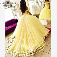 Luxury Hand Made Flowers Yellow Quinceanera Dresses 2019 Puffy Ball Gown Off Shoulder Long Chapel Train Prom Dress For Girls