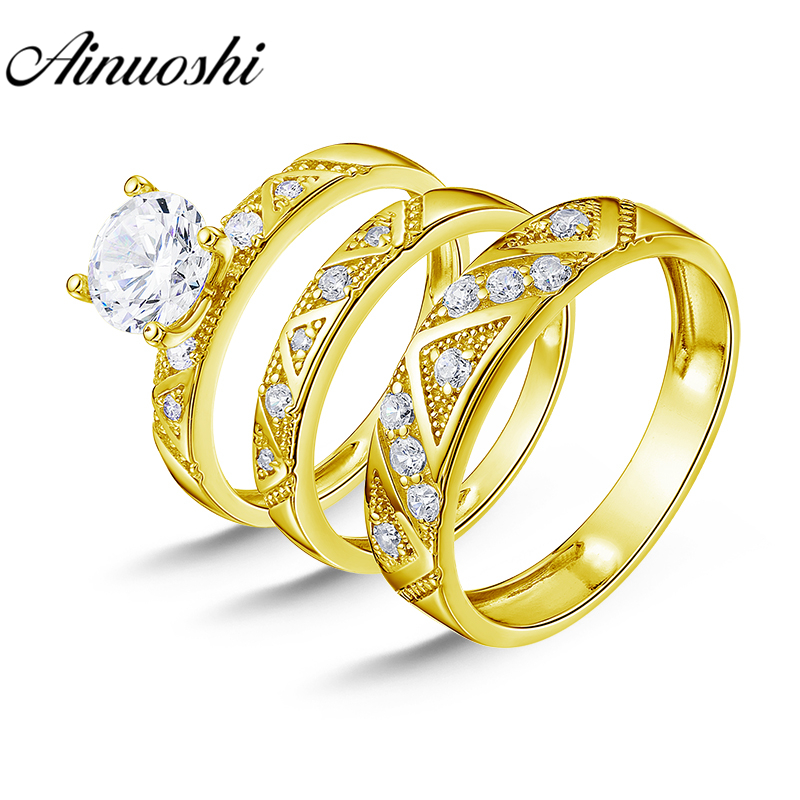 AINUOSHI Real Gold TRIO Engagement Rings Set Jewelry 14K Yellow Gold Couple Rings Wedding Band Triangle Pattern Bridal Rings SetAINUOSHI Real Gold TRIO Engagement Rings Set Jewelry 14K Yellow Gold Couple Rings Wedding Band Triangle Pattern Bridal Rings Set