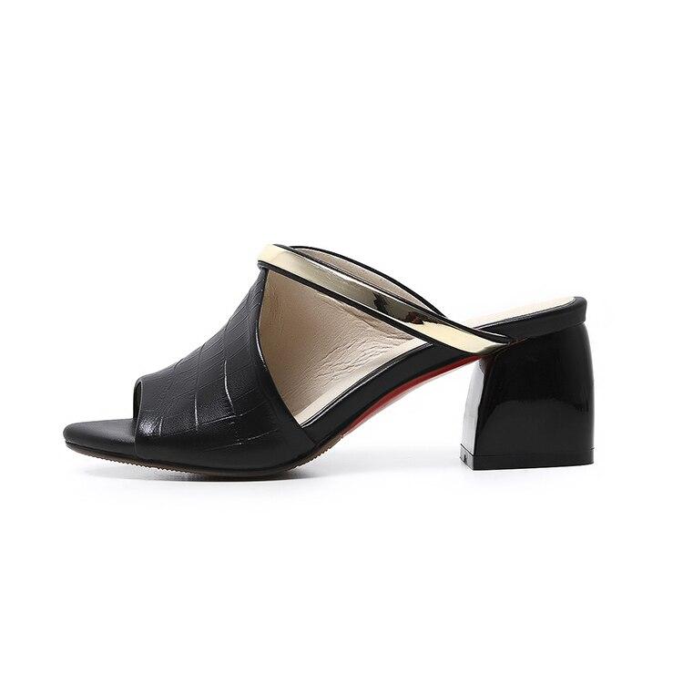 MLJUESE 2018 dames pantoffels echt leer Zwarte kleur zomer buitenkant - Damesschoenen - Foto 4