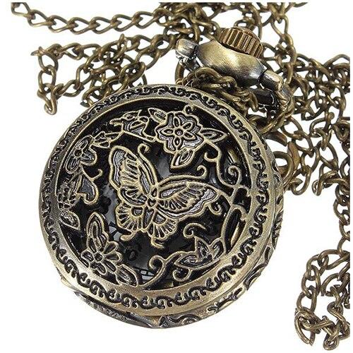 Vintage Hommes Lady Bronze Antique Pendentif Collier Chaîne Creux Montre De Poche Cadeau Style: Fleurs papillon