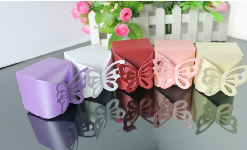 Butterfly Wedding party favor Candy Box festival gifts bag packing bomboniere dragee present chocolate paper packaging