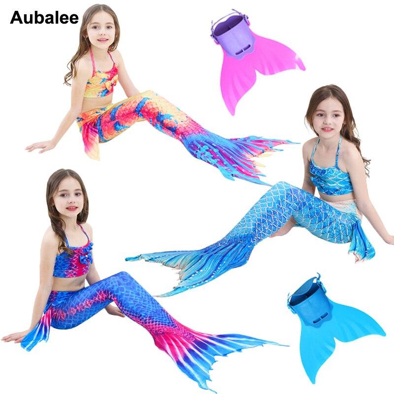 Child Mermaid Tail Cosplay Kids Little Girls Swimsuit Bikini Princess Ariel Mermaid Tail Fancy Costume Can Wear Monofin Flipper