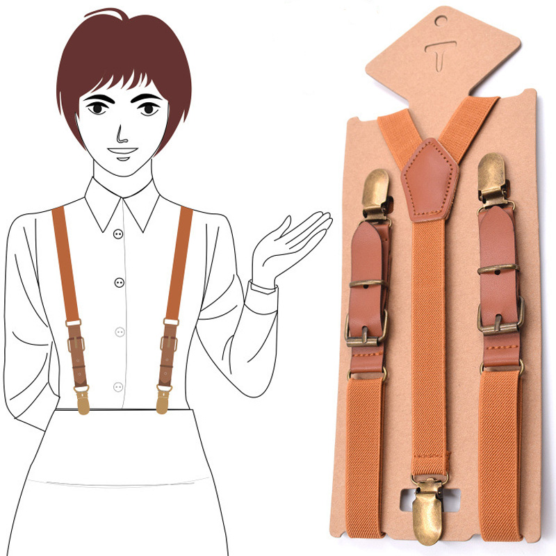 Leather Girls Suspenders Womans Braces Strong 3Clips Trousers Student Suspensorio Elastic Strap size 2.0*115cm 9 Colors