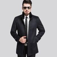 פנאי סתיו החורף למעלה איכות גברים מעיל ז 'קט זכר מעיל צמר הלבשה עליונה תערובות צמר ארוך צווארון פרווה ארנב Styel