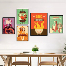 Cartoon BBQ Party Sausage Barbecue Hamburger Wall Art Canvas Painting Nordic Posters and Prints Pictures Restaurant Decor