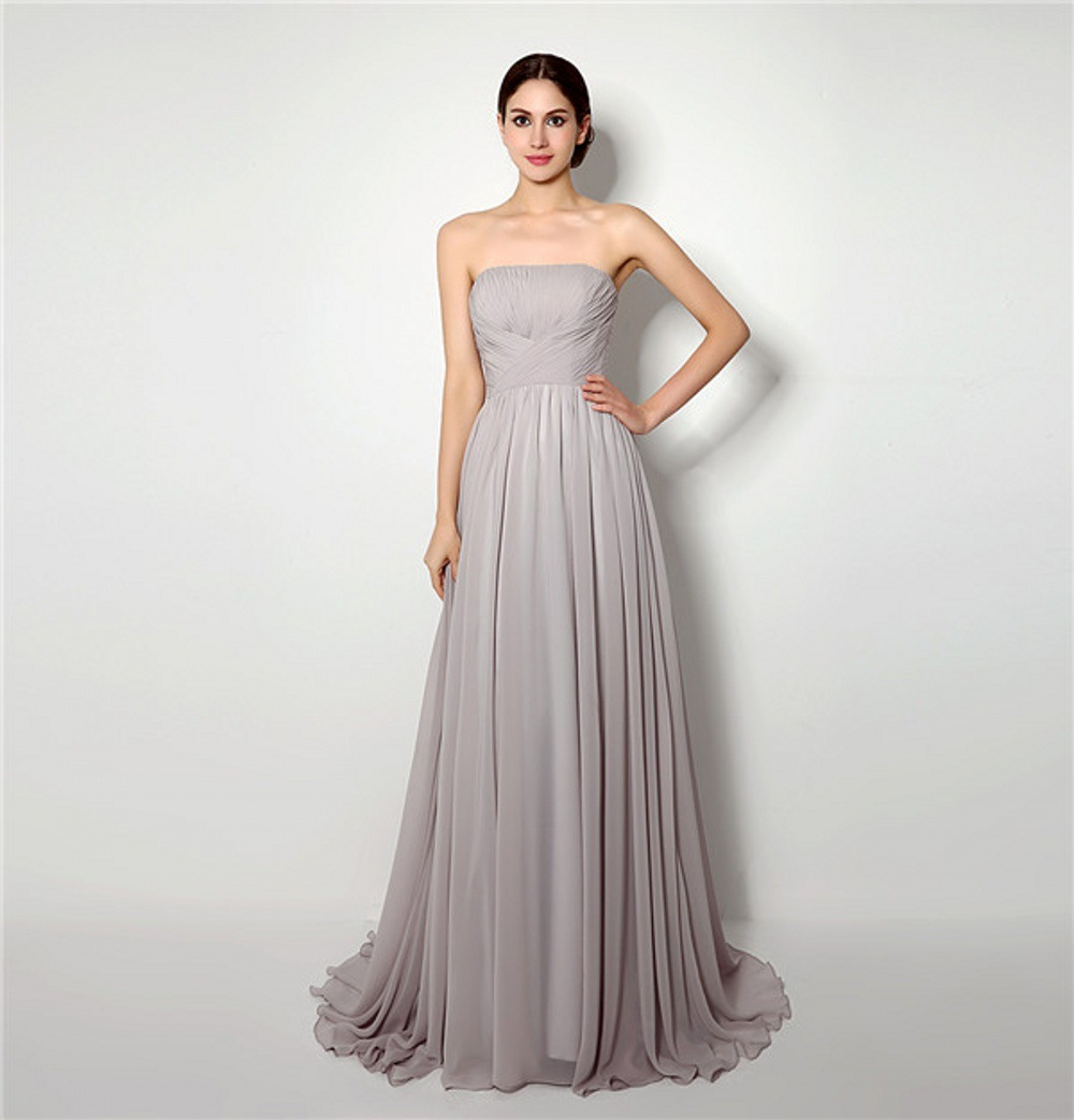 Charming Chiffon Mother Of The Bride Dresses A Line Pleats Sweep Train Strapless Evening Gowns Madre Della Sposa Si Veste