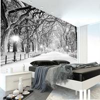 Beyaz Kar Manzara Duvar Kış Kar Ağacı Fotoğraf Duvar Kağıdı Oturma Odası Yatak Odası Duvar Sanatı Dekor Boyama Özel için Rolls boyutu