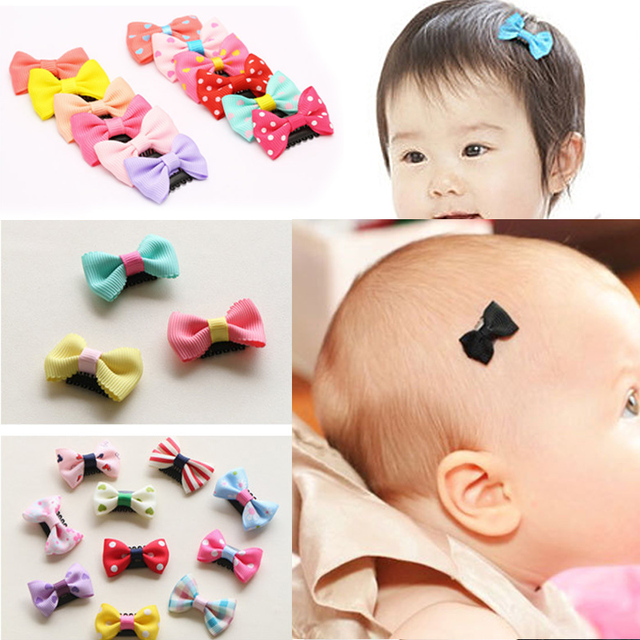 f1a7111078d9 New 10Pcs Pack newborn Baby Girls Scarce hair Lovely BB Clips Bowknot  Hairpin Kid Hair