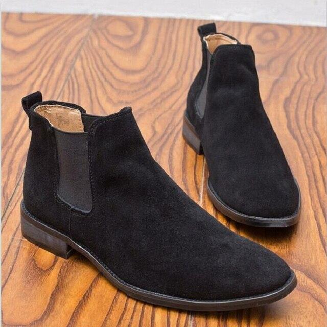 726abdd0deb New Chelsea Boots Botas para hombres Casual punta estrecha Otoño Invierno  Vaca Suede Male Boots Short