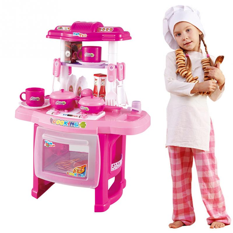 Pink Kid Kitchen Fun Toy Pretend Play Cook Cooking Cabinet Stove Set ...