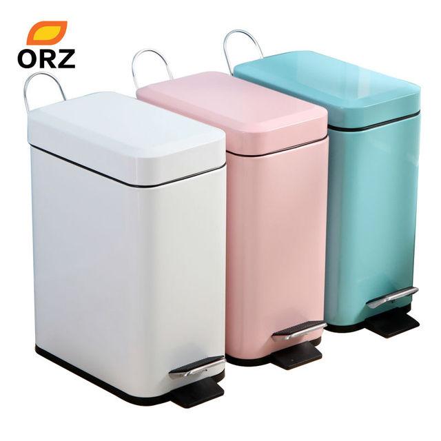 ORZ Trash Can Bathroom Kitchen Living Room Office 5L Garbage Dust Bin  Storage Bucket Storage Box