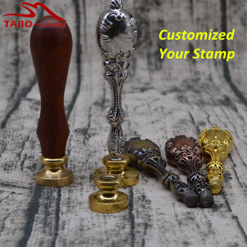 Classic Golden Silver Handle with Cooper Head Custom Made Logo Design Personalized Sealing Wax Stamp Design