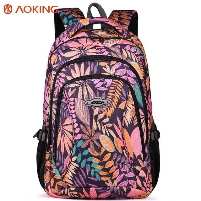 Aoking Waterproof Women Backpack Large Breathable School Day Pack Laptop Bag Casual Travel Nylon Floral Girls Backpack Printing